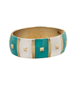 7 Inch Hinged White and Turquoise Blue Enamel P... - $13.97