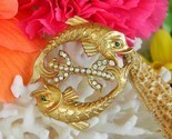 Vintage pisces twin double fish brooch pin pearls rhinestones goldtone thumb155 crop