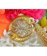Vintage Pisces Twin Double Fish Brooch Pin Pearls Rhinestones Goldtone - $19.95