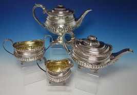 Thomas Bowen English Sterling Silver Coffee Set 4pc with Floral Border (... - $3,550.00