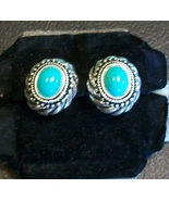 Avon Faux Turquoise and Antiqued Silver-tone Clip-on Earrings - $9.00