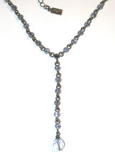Signed 1928 Necklace Blue rhinestone Y antiqued Silver-tone used - $10.00