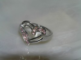 Estate Silvertone with Pink Rhinestone Accents Open Valentine HEART Ring... - $8.59