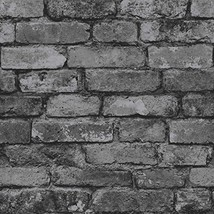 Brewster FD31284 Rustic Brick Wallpaper - Silver  - $19.00