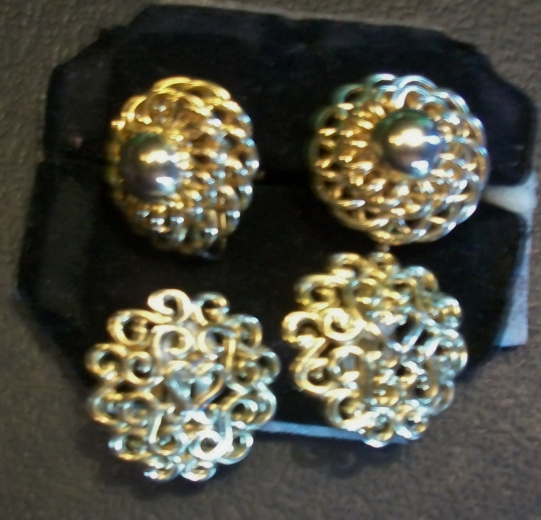 Two Pair of Ornate Vintage Gold-tone Earrings Clip-on and Screw-back