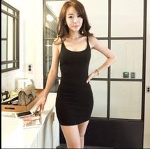 PF067 Sexy stretchabke vest dress, buy 1 get 1 free,SIZE M-2XL, BLACK - $28.80