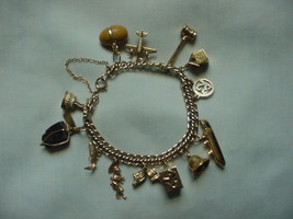 14 KT GOLD CHARM BRACELET STANHOPE OCEAN LINER WEDDING CAKE AIRPLANE ETC. - $2,595.00