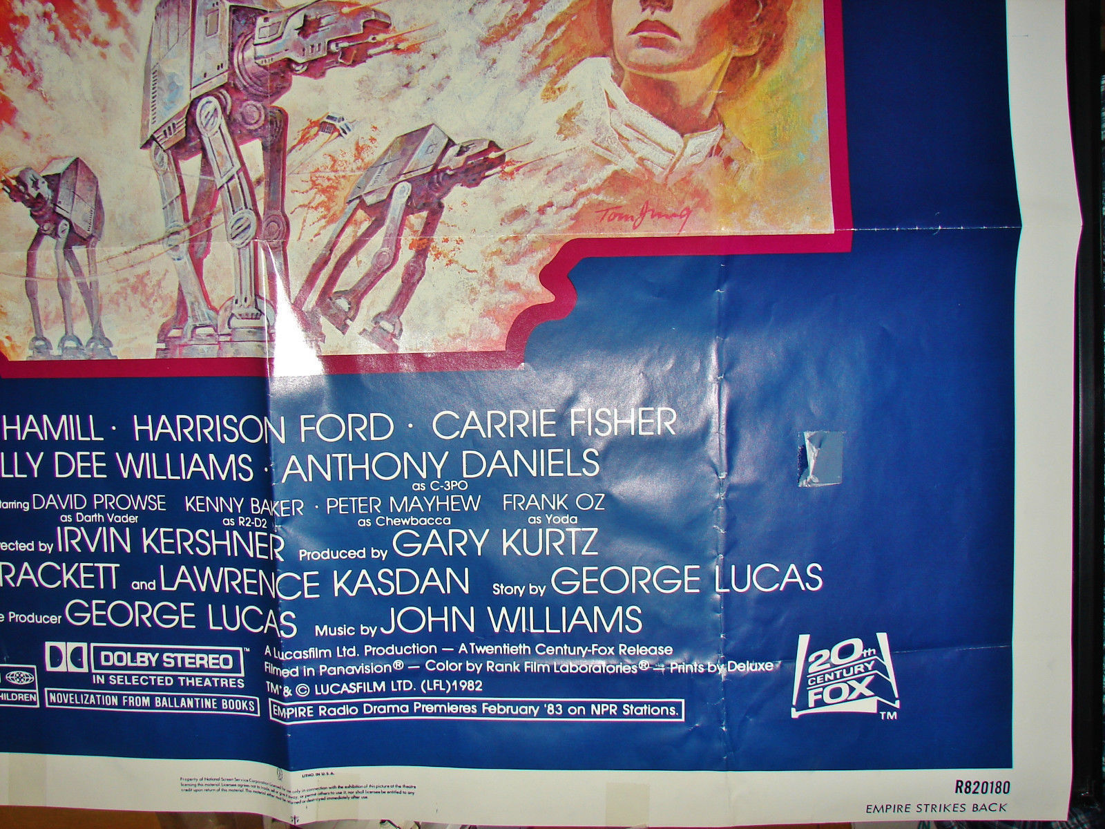 Original STAR WARS MOVIE POSTER THE EMPIRE STRIKES BACK R820180 27x41 1980 used
