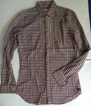 NWOT DIESEL Womens Ruffle Check Button Up Shirt S Cotton Burgundy Black ... - $48.51