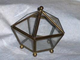 Enesco Glass & Brass Curio Trinket Jewelry Box Display Pentagon Shape Hi... - $24.99