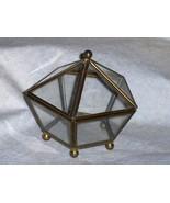 Enesco Glass & Brass Curio Trinket Jewelry Box ... - $24.99