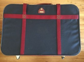 Vintage Samsonite Amherst Navy Blue Maroon Strapped Soft Case Luggage 3 ... - $121.19