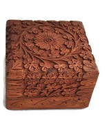 Indian Hand Carved Intricate Flower Design Solid Wood Square Jewelry Tri... - €19,44 EUR