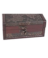 Small Textured Silver Color Floral Design Wooden Trunk Style Jewelry Box... - €16,73 EUR
