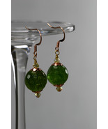 Green Quartz & Swarovski crystal earrings - $50.00