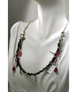 Swarovski crystal bicone wrapped cord necklace with dangles of Swarovski... - $70.00