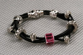Leather braided bracelet with Swarovski crystal becharmed pave baguette ... - $100.00