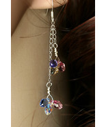 Multi colour Swarovski crystal teardrops earrings, sterling silver fille... - $38.00