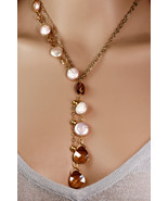 Swarovski crystal briolette and freshwater coin pearl necklace - $180.00