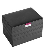 Black Faux Leather Finish Stacked Compartment Jewelry Box w Hot Pink Int... - €107,39 EUR