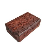 Elegant Hand Carving Scroll Rosewood Flowers Rectangle Wooden India Jewe... - €38,24 EUR
