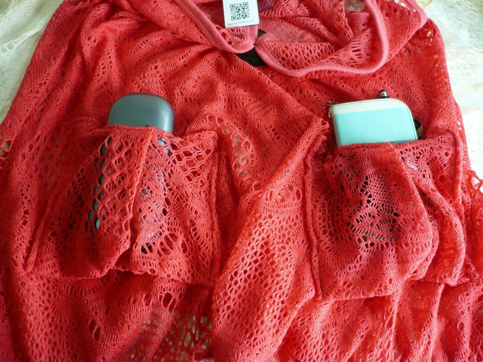 Crochet Beach Tunic blouse with pockets swimwear topper coverup Coral red