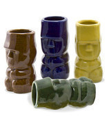 ~~~~ Island Tiki Shot Glasses Set of 4 ~~~~ Dynasty ~~~~ 4 Different Col... - $9.00