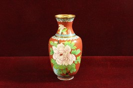 Chinese Cloisonné Vase Floral Motif with Ruyie Border Red - $115.43