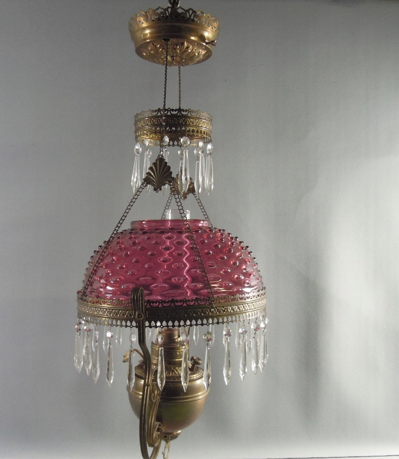 Antique Hanging Oil Parlor Lamp Cranberry Hobnail Glass Shade Pittsburg Lamps