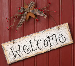 8W1084-Welcome Hanging Sign Wood Primitive  - $7.95