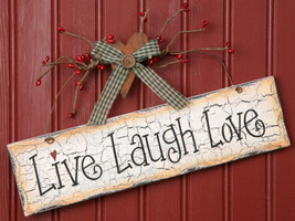 8W1088-Live Laugh Love Sign Hanging Sign Wood ... - $7.95