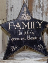45366Y -Family Life's Greatest Gift  Wood Standing Star  - $2.95