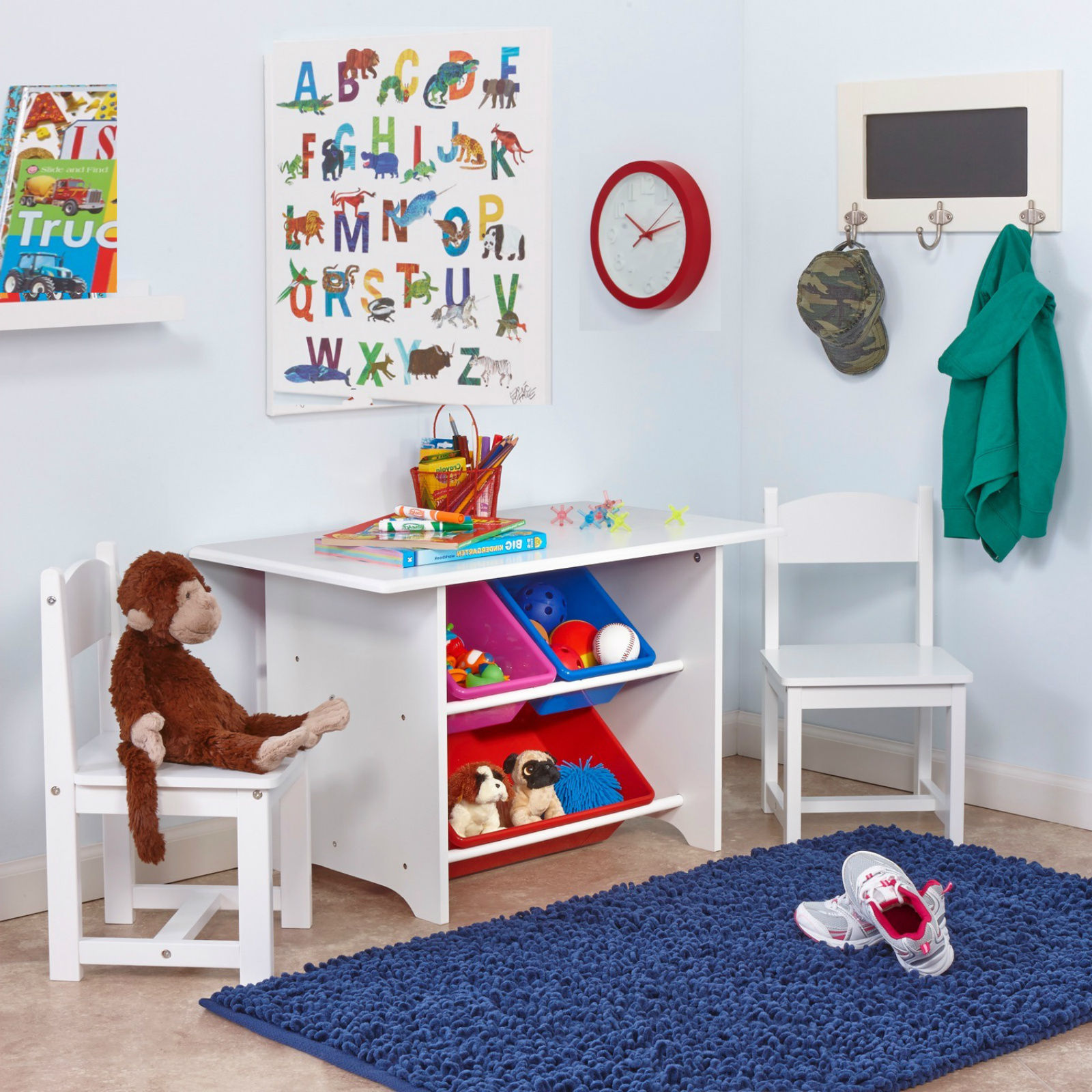 Kids study table and chair set wood with storage bins - School bus table and chair ...