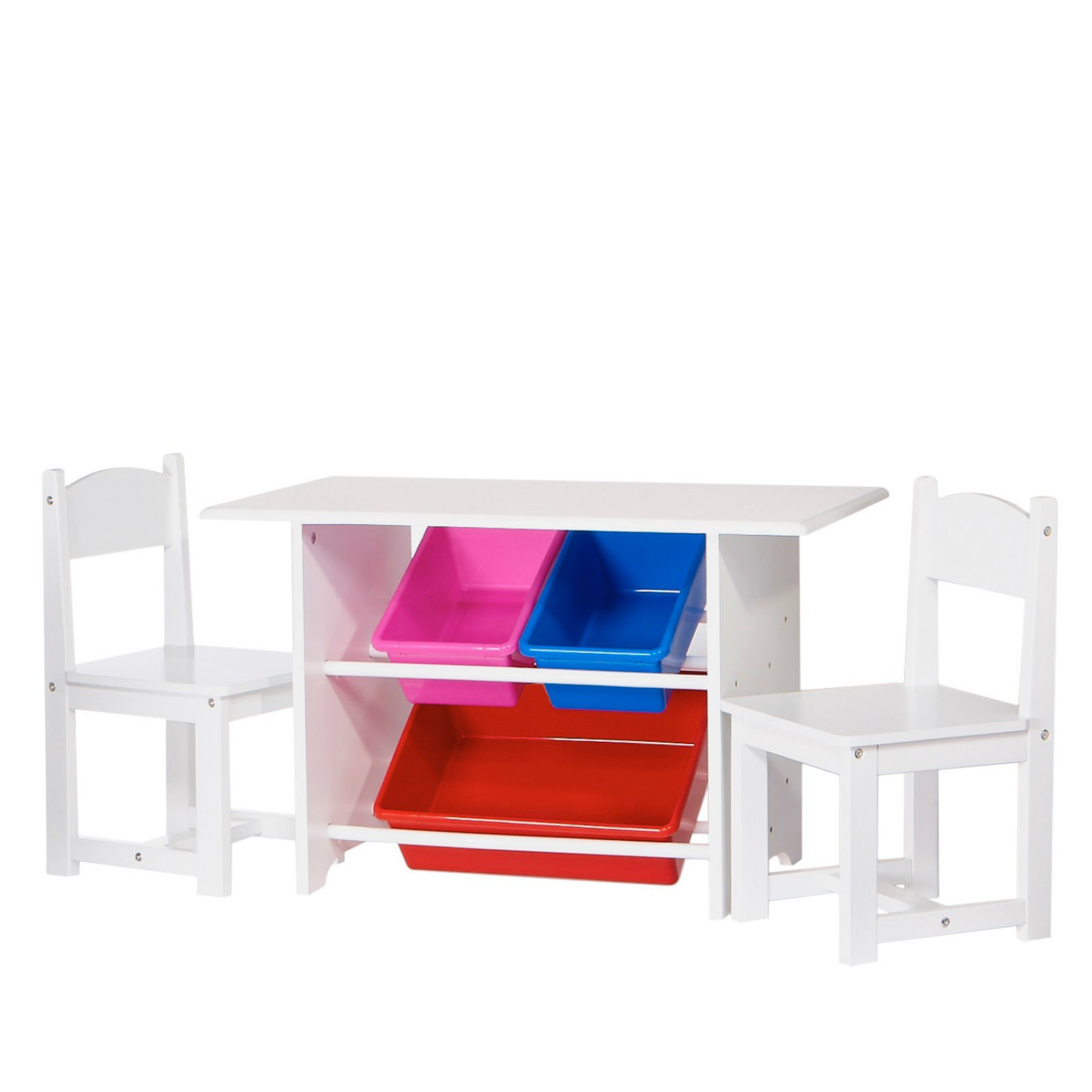 Kids Study Table And Chair Set Wood With Storage Bins ...