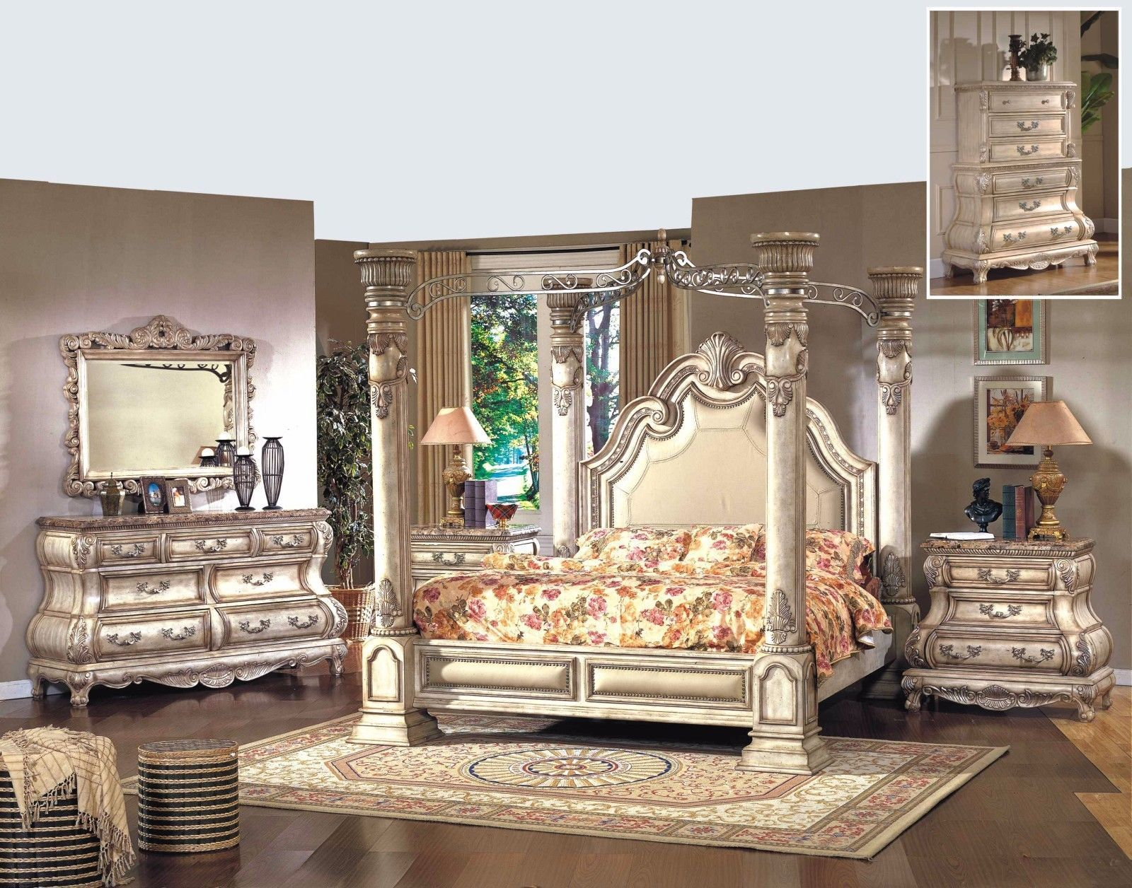 Mcferran RB9087 Monaco Leather Queen Size Bedroom set 5.pc Traditional Style