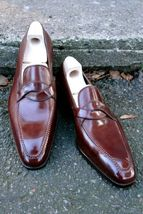 Men Burgundy Color Burnished Cap Toe Handmade Genuine Leather Stylish Shoes - $144.99+
