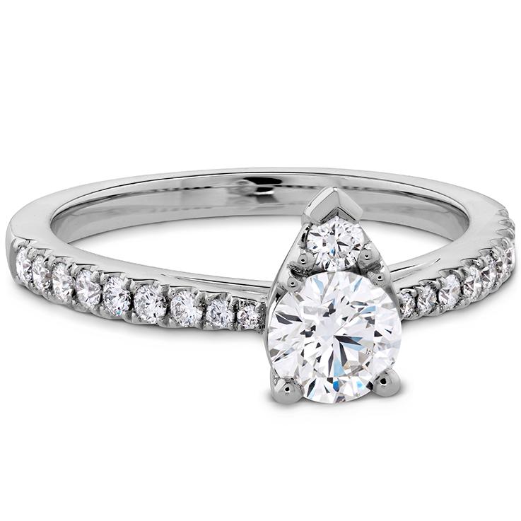 Teardrop Shape Engagement Ring Diamond Band Raound Diamond 14k White Gold FN