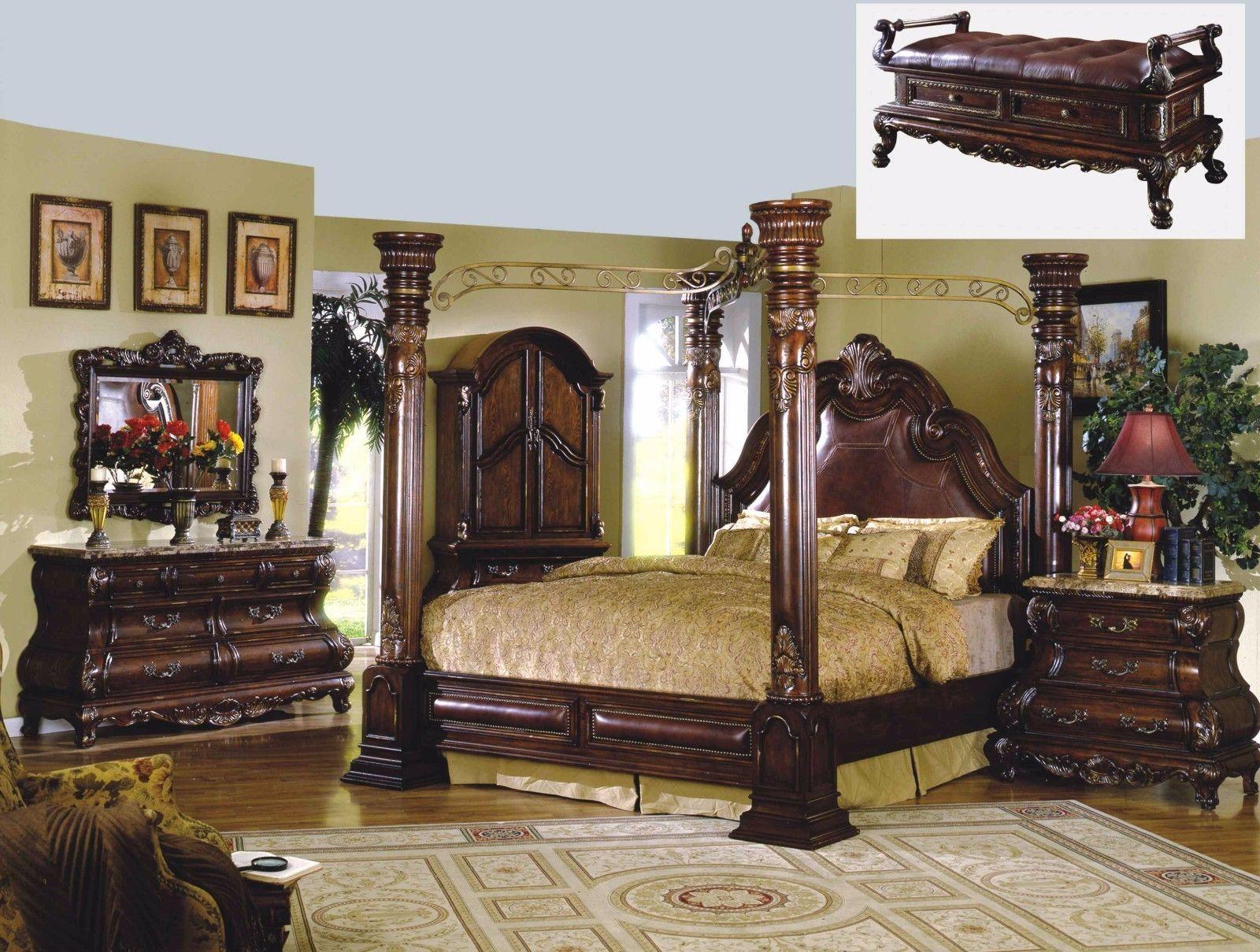 Mcferran RB9088 Monaco Leather California King Size Bedroom set 5.pc Traditional