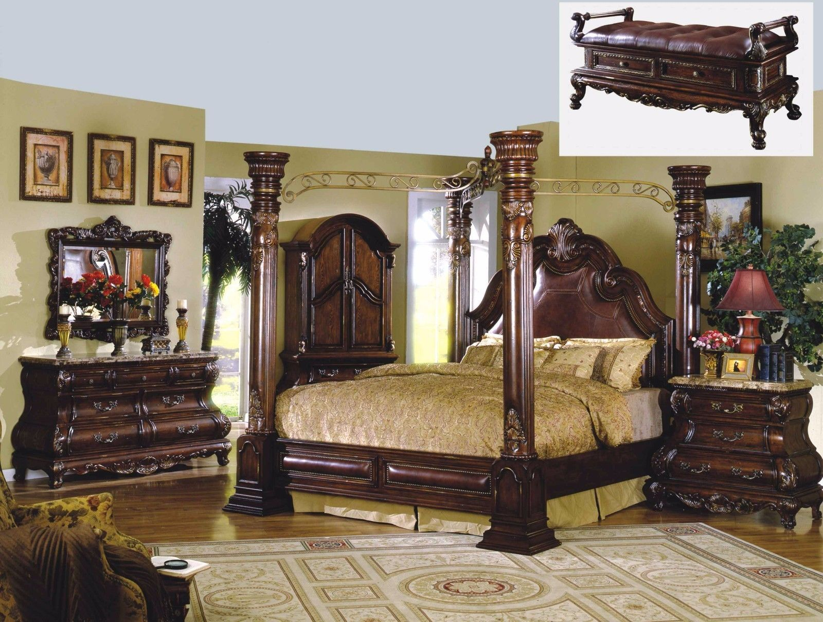 Mcferran RB9088 Monaco Leather Eastern King Size Bedroom set 5.pc Traditional