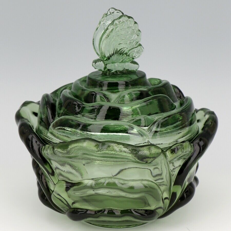 Fenton Art Glass Heritage Green Cabbage Rose Butterfly 9280 Candy Box c1983
