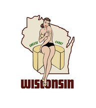 Travel Humor Hot Rat Rod Vinyl Decal Wisconsin Pinup #57 - $2.95