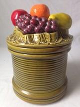 Vintage Fruit Topped Cookie Jar Avocado Green R... - $29.64