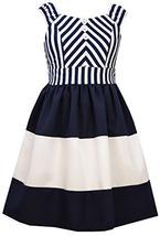 Bonnie Jean Little Girls 2T-6X Blue White Miter Stripe Colorblock Nautical Dress