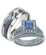 His Hers Blue and Clear Stone Wedding Ring Set ... - $38.99