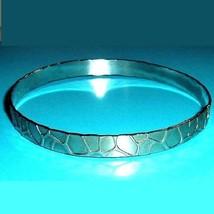 Vintage Silver Etched Pattern 8 inch Bangle Bracelet - $24.99