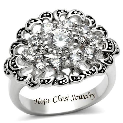 HCJ VICTORIAN STYLE SILVER CLUSTER FLOWER CUBIC ZIRCONIA FASHION RING SIZE 5