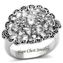 HCJ VICTORIAN STYLE SILVER CLUSTER FLOWER CUBIC ZIRCONIA FASHION RING SI... - $15.74