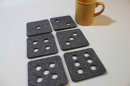 Grey and Mix Colour Felt Coaster Square Dice Designs Set of 6 Felt 4 mm - $9.51