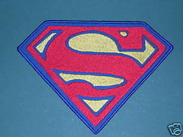 "SUPERMAN ""S"" PATCH SEW ON LARGE 5"" X 7"" BLUE OR BLACK BACKGROUND SUPERGI... - $19.99"