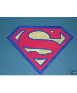"""SUPERMAN """"S"""" PATCH SEW ON LARGE 5"""" X 7"""" BLUE OR BLACK BACKGROUND SUPERGI... - $19.99"""